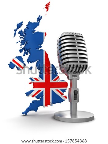 Microphone and United Kingdom (clipping path included) - stock photo