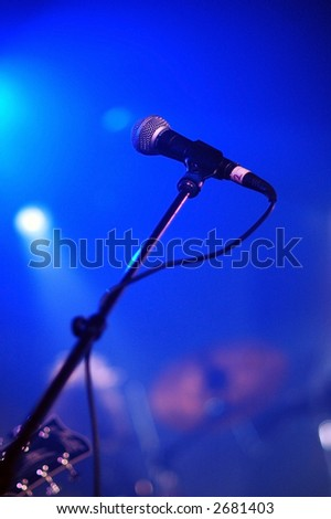 Microphone at live music show - stock photo