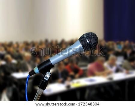 Microphone at Seminar - stock photo