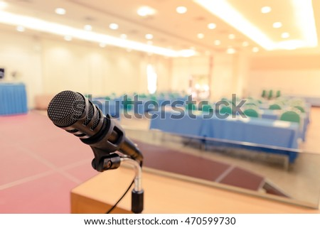 Microphone at seminar room with vintage filtered