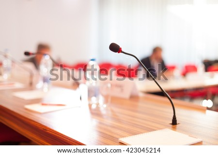microphone at the conference room - stock photo