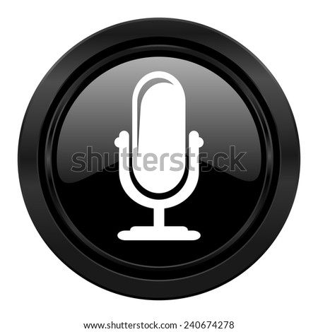 microphone black icon podcast sign  - stock photo
