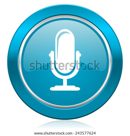 microphone blue icon podcast sign  - stock photo