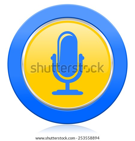 microphone blue yellow icon podcast sign  - stock photo