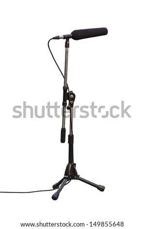 microphone boom for tv or radio for football match isolated on white background with clipping path - stock photo