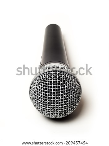 Microphone close up isolated on white background . selective focus - stock photo
