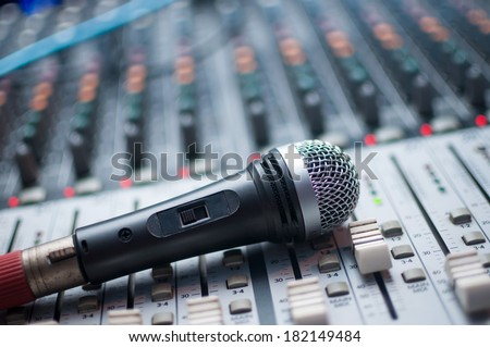 Microphone close-up on the sound mixer - stock photo