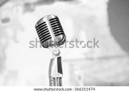 Microphone close up. Retro microphone. Singer's microphone. - stock photo