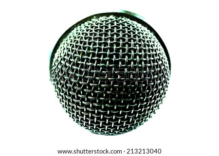 microphone color Silver White background - stock photo