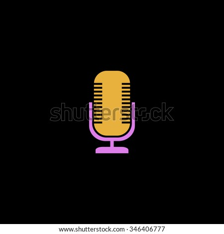 Microphone. Colorful symbol on black background