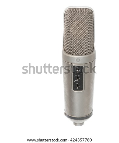 microphone, condenser mic on white background. - stock photo