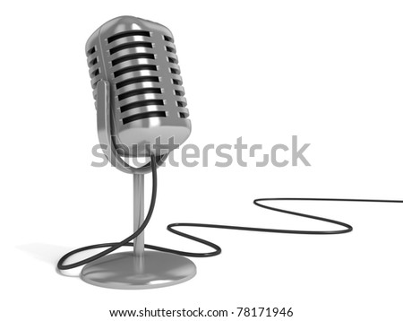 """microphone 3d illustration - radio microphone with """"on the air"""" sign on top isolated over white background - stock photo"""