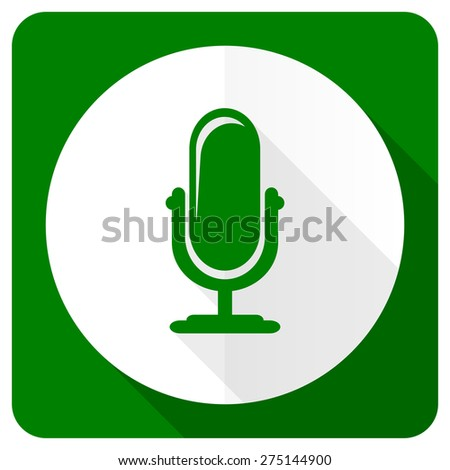 microphone flat icon podcast sign  - stock photo