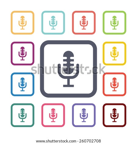 microphone flat icons set. Open colorful buttons