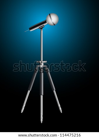 microphone for karaoke on tripod, abstract art illustration; image contains transparency