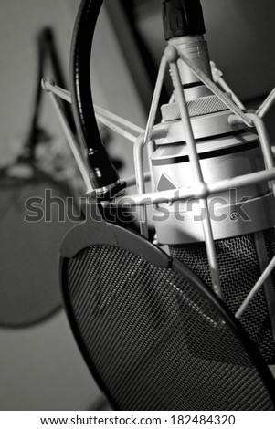 Microphone for singer, black and white - stock photo