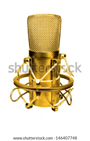 Microphone Gold - stock photo