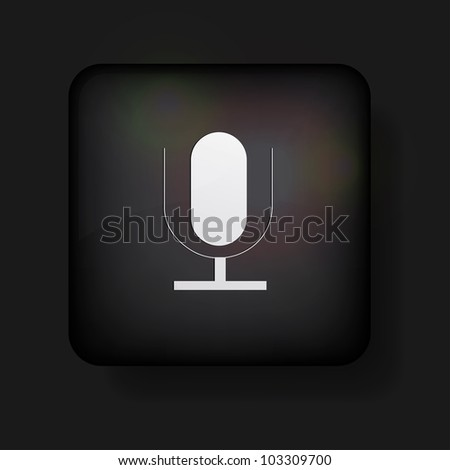 microphone icon on black - stock photo