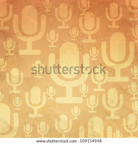 Microphone icon on old paper background and pattern