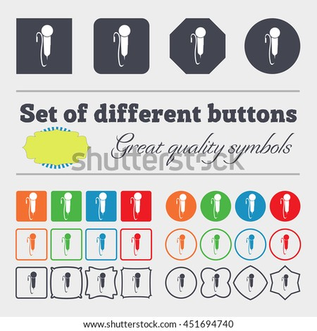 microphone icon sign. Big set of colorful, diverse, high-quality buttons. illustration