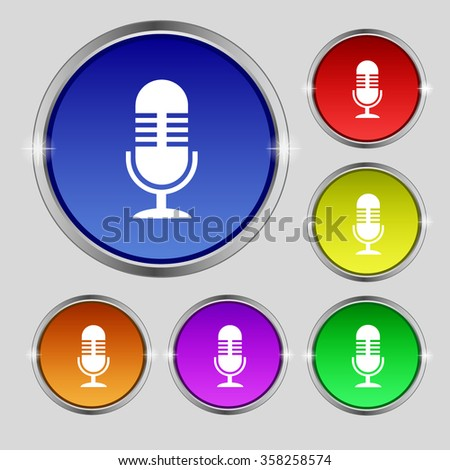 microphone icon sign. Round symbol on bright colourful buttons. illustration - stock photo