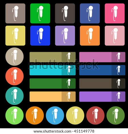 microphone icon sign. Set from twenty seven multicolored flat buttons. illustration