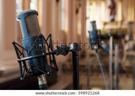 Microphone in church - stock photo