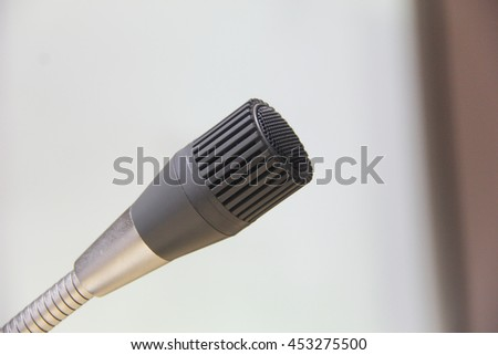 Microphone in conference hall, Close-up