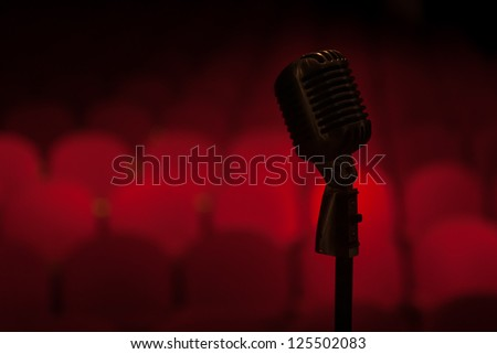 Microphone in front of the empty audience