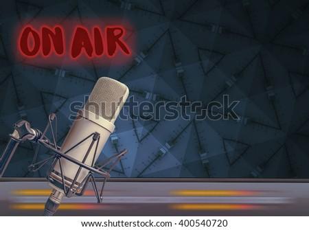 microphone in radio studio - stock photo