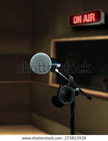 Microphone in recording studio on air - stock photo