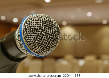 Microphone in seminar event defocus on meeting room background