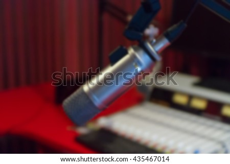 microphone in studio on blur background
