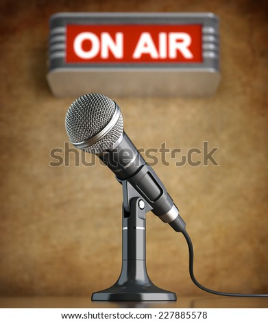 Microphone in the old studio with on air sign - stock photo