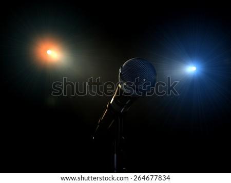 microphone in volume light - stock photo
