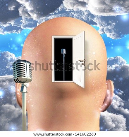 Microphone inside mind - stock photo
