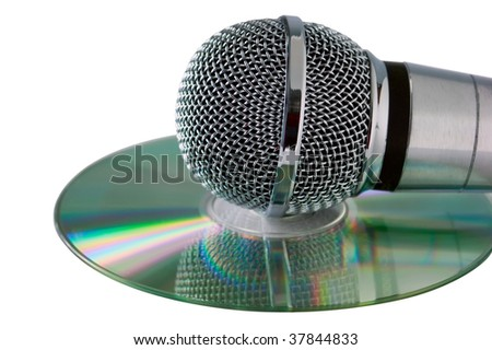 microphone is on compact disc isolated on white