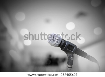 Microphone isolated on grey room