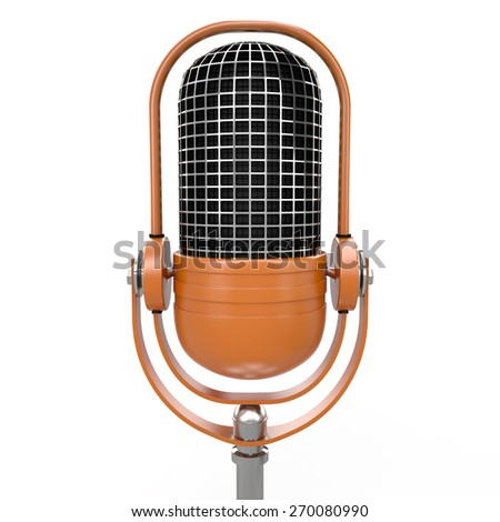 Microphone isolated on white background , 3D rendering image - stock photo