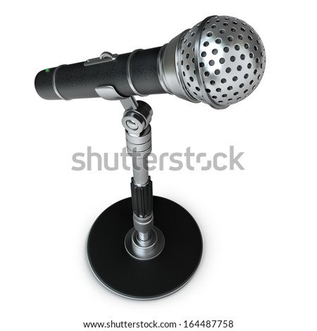 Microphone isolated on white background High resolution 3d