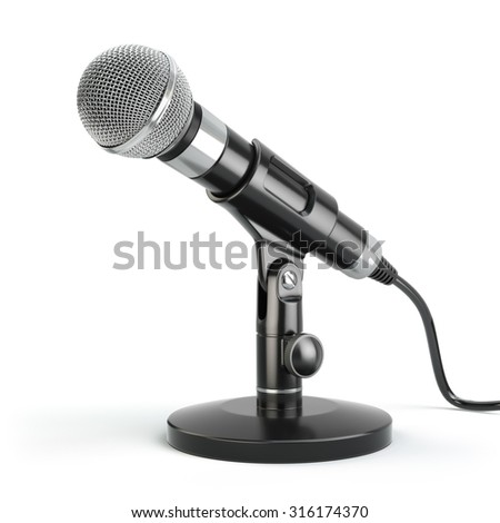 Microphone isolated on white. Karaoke or news concept. 3d - stock photo