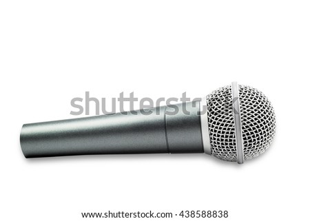 Microphone isolated on white nackground. file contains a clipping path. - stock photo