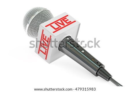 microphone live, 3D rendering isolated on white background