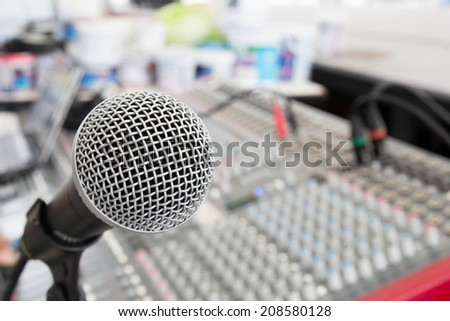 microphone & Mixer / Broadcasting equipment to be louder and more melodic. - stock photo