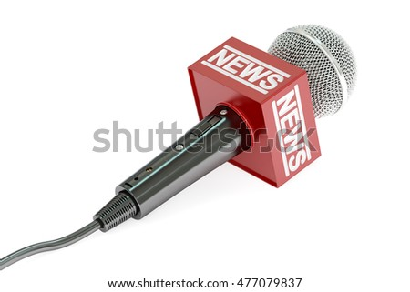 microphone news, 3D rendering isolated on white background