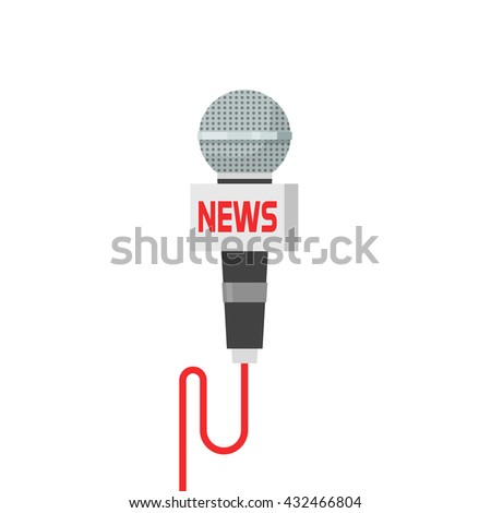 Microphone news illustration isolated on white, flat cartoon interview microphone with wire image