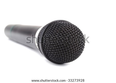 Microphone of black colour for a karaoke from radio management.