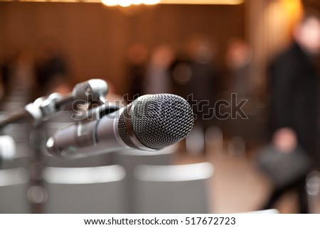 microphone on a stand at a presentation