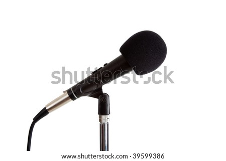 Microphone on a stand with a black cover on a white background