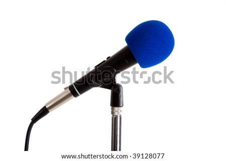 Microphone on a stand with a blue cover on a white background